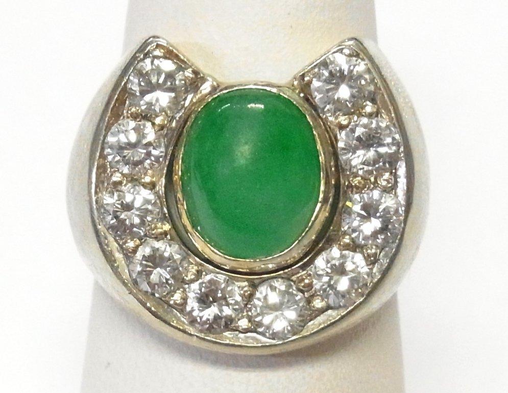 1950s Fine Diamond Jadeite 14k Gold Mens Horseshoe Ring