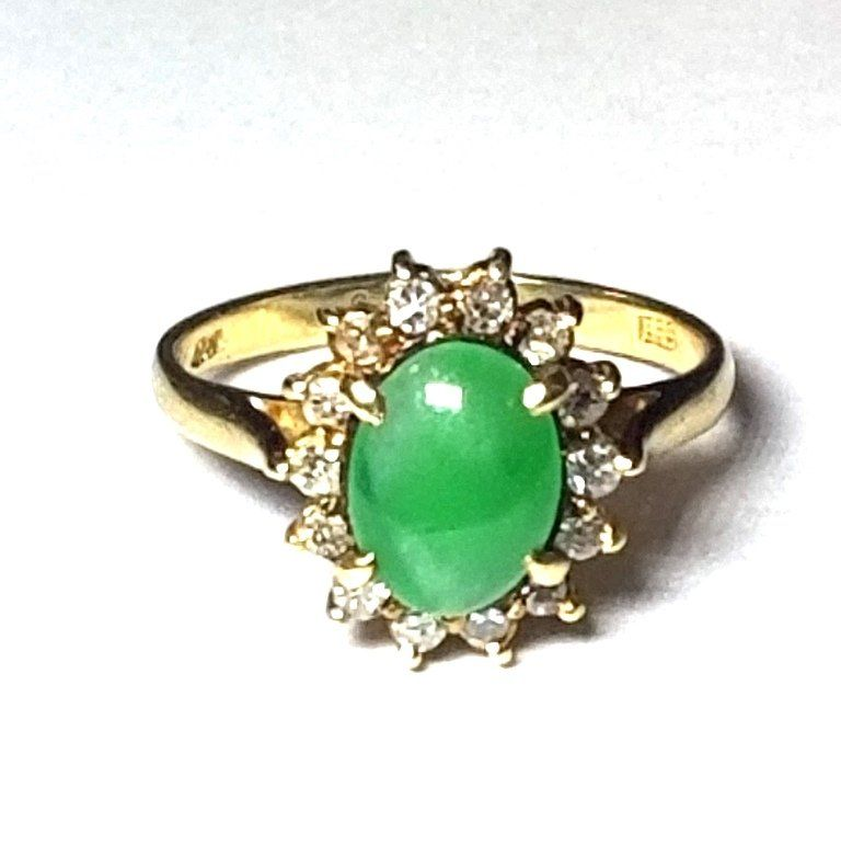 14k Yellow Gold Genuine Diamond Jadeite Jade Halo Midce