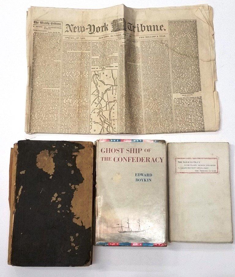 Lot Civil War Era Books Newspaper NY Tribune 1861