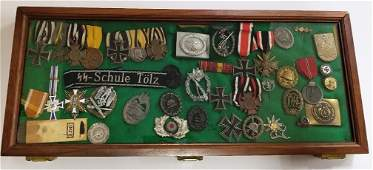 43pc WWII German Nazi Various Medals Buckles Ribbons Co