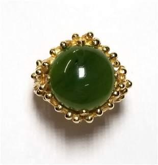 Vintage Midcentury Nephrite Jade Yellow Gold Sputnik La