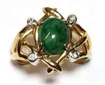 14k Gold Jadeite Jade Genuine Diamond Midcentury Freefo