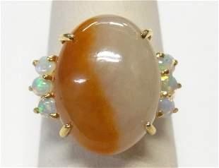 Butterscotch Muttonfat Jadeite 14k Gold Opal Ring