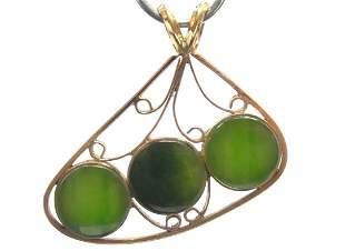 Antique Green Jade 9k Rose Gold 3 Stone Artisan Pendant