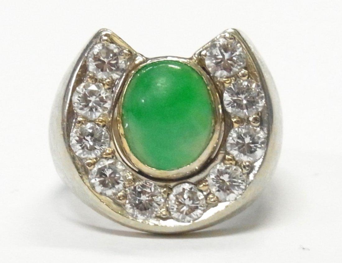 Diamond Jadeite Jade 14k White Gold Mens Horseshoe Ring