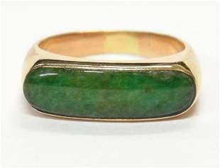 Genuine Jadeite 18k Gold Vintage Sadddle Ring Unisex