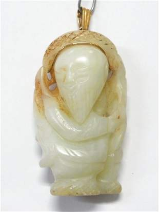 Antique Muttonfat Jade 18k Gold Chinese Buddha Pendant