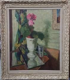 Leon Kroll Sunlit Floral Still Life Large Painting