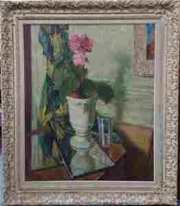 Leon Kroll Sunlit Floral Still Life Large Painting