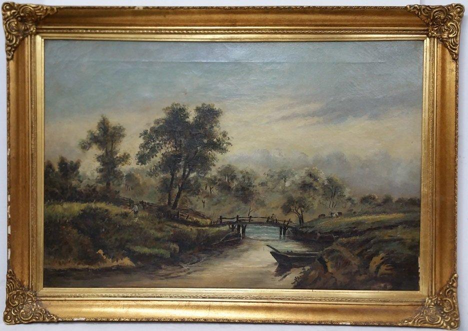 Antique Hudson River School English Victorian Painting