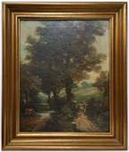 Antique 19c French Barbizon School Landscape Painting