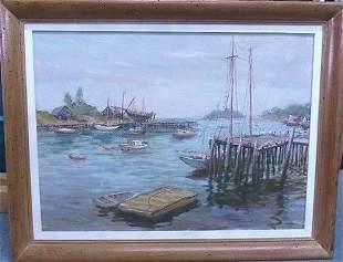 Hugo Pieper Maine Boat Nautical Oil Painting