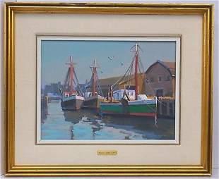 Raynald Leclerc Signed Nautical Boat Harbor Painting