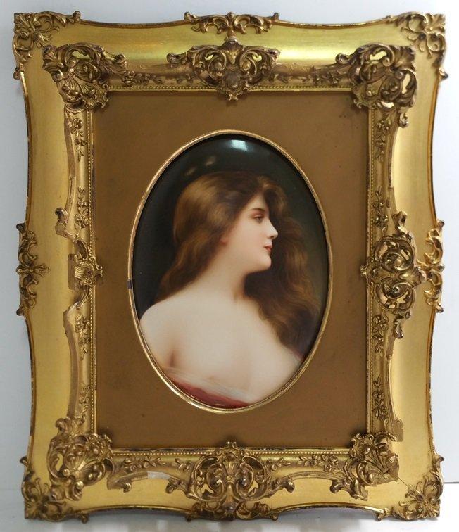 KPM Lady Nude Portrait Continental Painted Porcelain