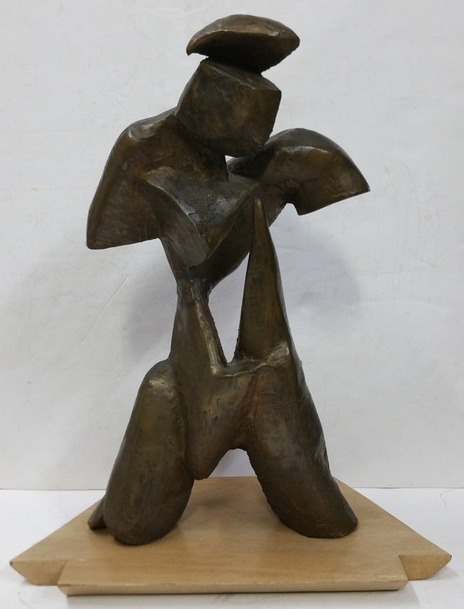 Modernist Bronze Sculpture Mid Century Abstract Figure