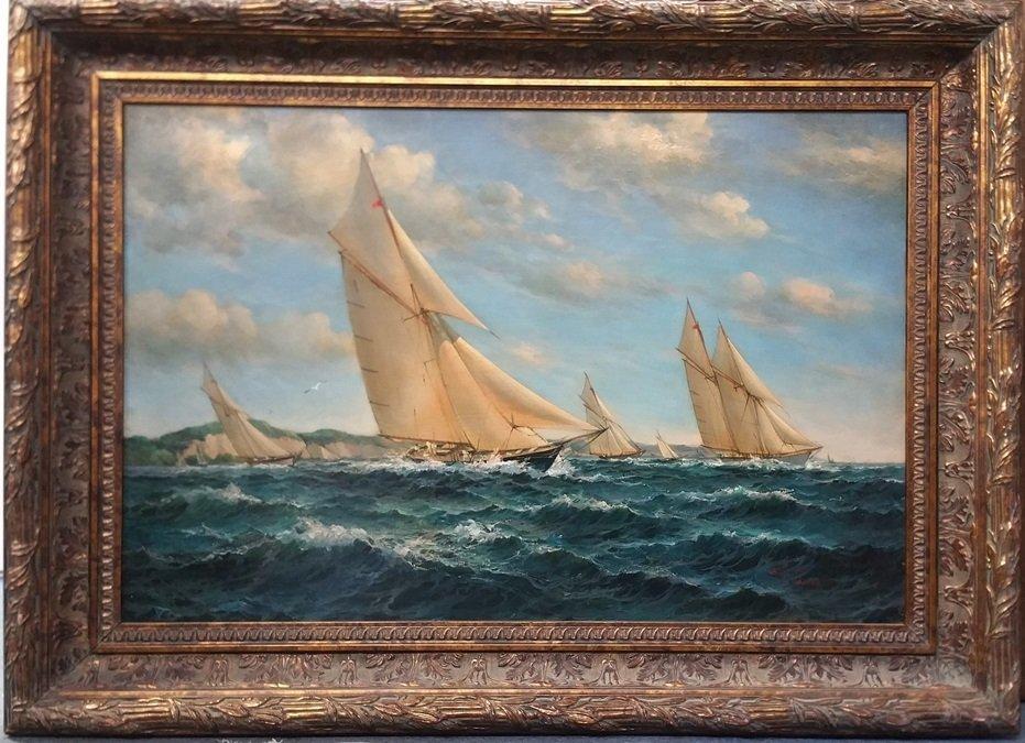 Lg Bob Sanders Yacht Race Sailboat Seascape Painting
