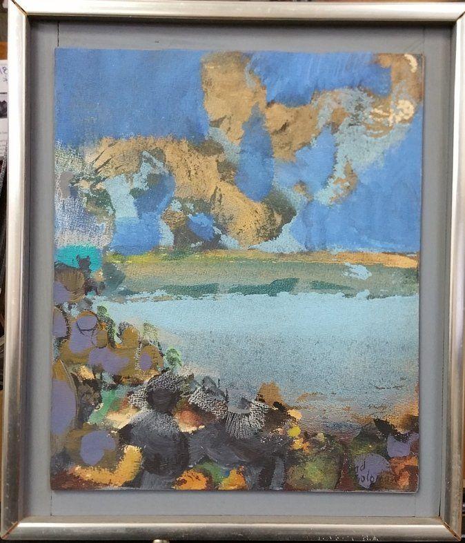 Original Syd Solomon Abstract Painting Skytender 1