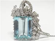 35ct Aquamarine Art Deco Platinum 5ctw Diamond Deco Pin