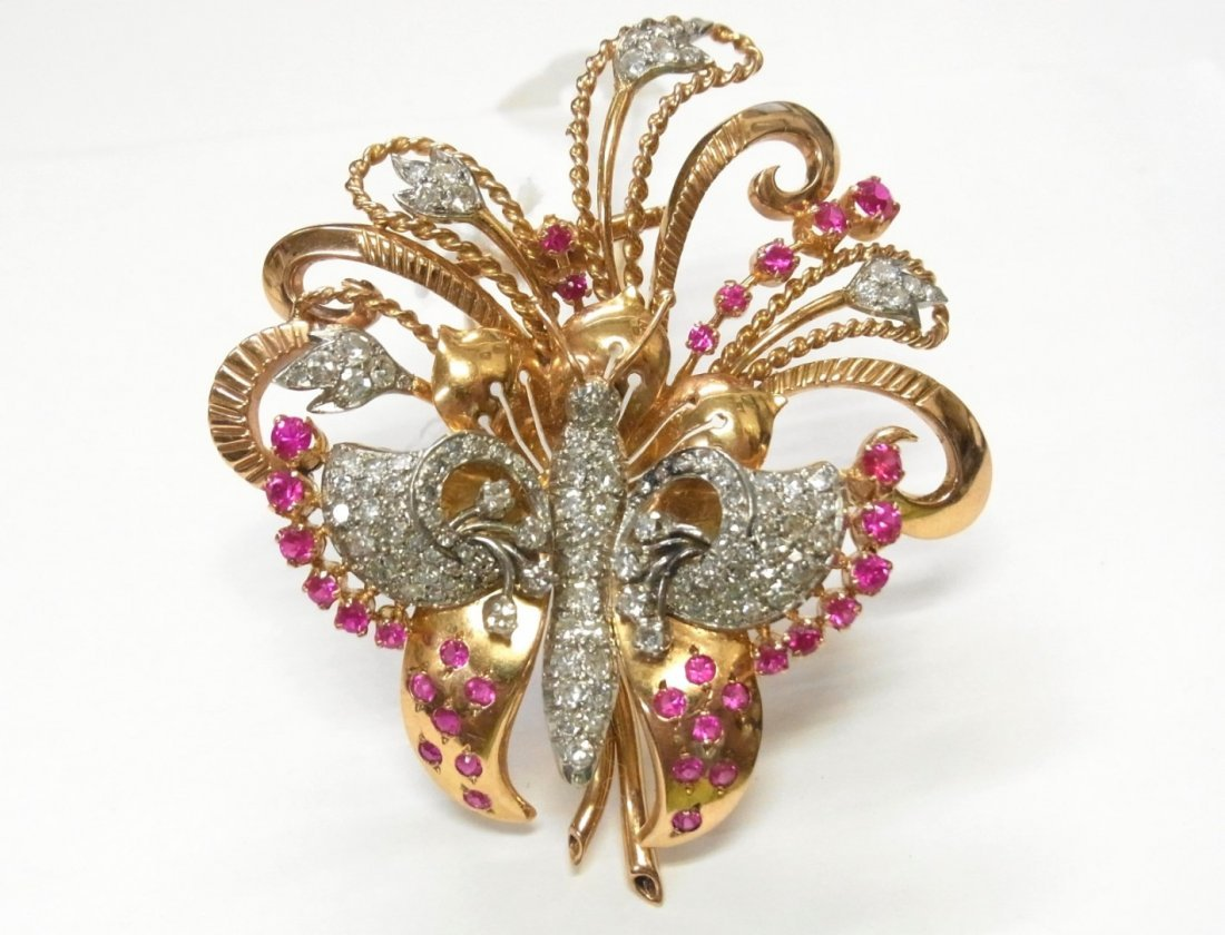 18k Gold Platinum 2.50ctw Diamond Ruby Butterfly Brooch