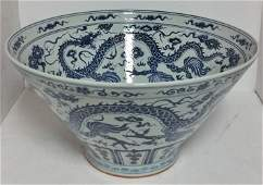 Huge 22.5in Chinese Bowl Blue White Porcelain Dragon
