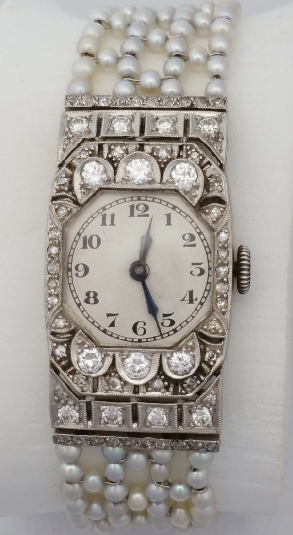 Platinum Diamond Art Deco Ladies Watch Seed Pearl