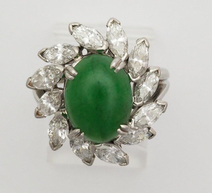 Platinum Fine Diamond & Natural Jadeite Jade Ring. The