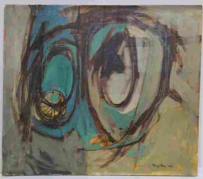 Mary Anne Jenkins Brown Green Abstract Oil Painting COA