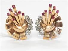 1940s 18k Rose Gold & Platinum 1.05ctw Diamond Earrings