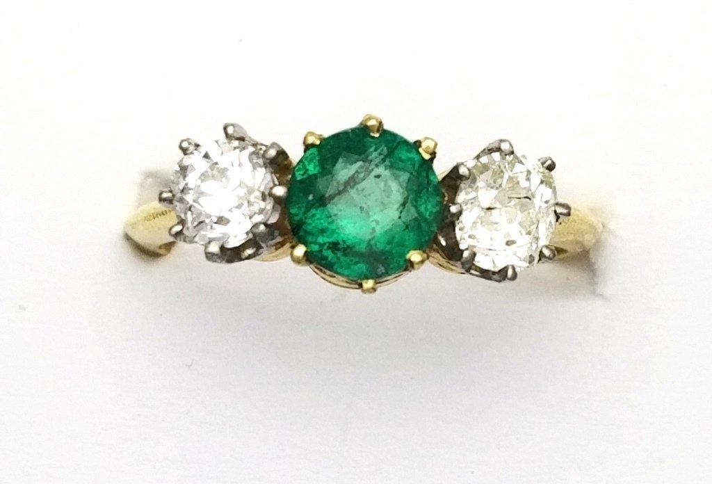 Antique Diamond & Natural Emerald 3 Stone Ring Comprise