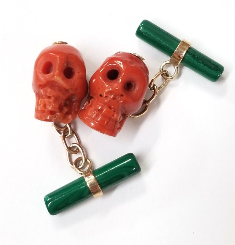 Unusual Antique Malachite & Carved Natural Coral Skull