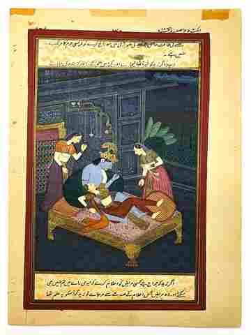 Antique Mulgal Empire Indian Kashmir Krishna & Radha