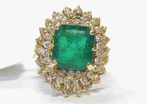 6.17ct Natural Emerald 2.10ctw Diamond 18k Gold Ring