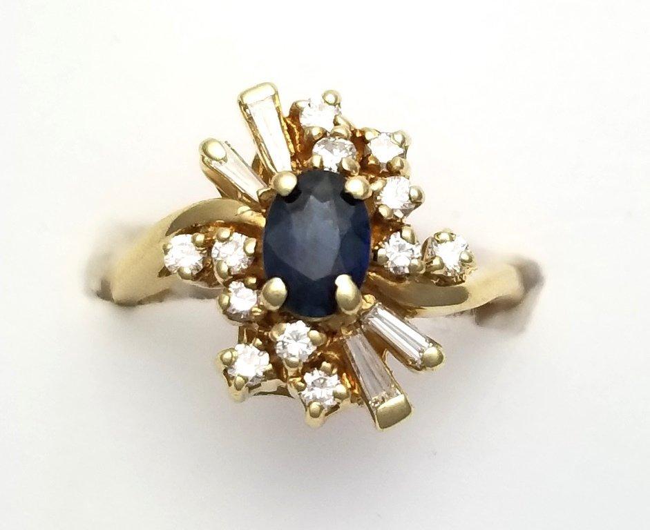 Vintage 14k Gold Natural Sapphire & Diamond Ladies Cock