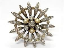 Victorian 18k Gold Silver Rose Cut Diamond Pearl Brooch