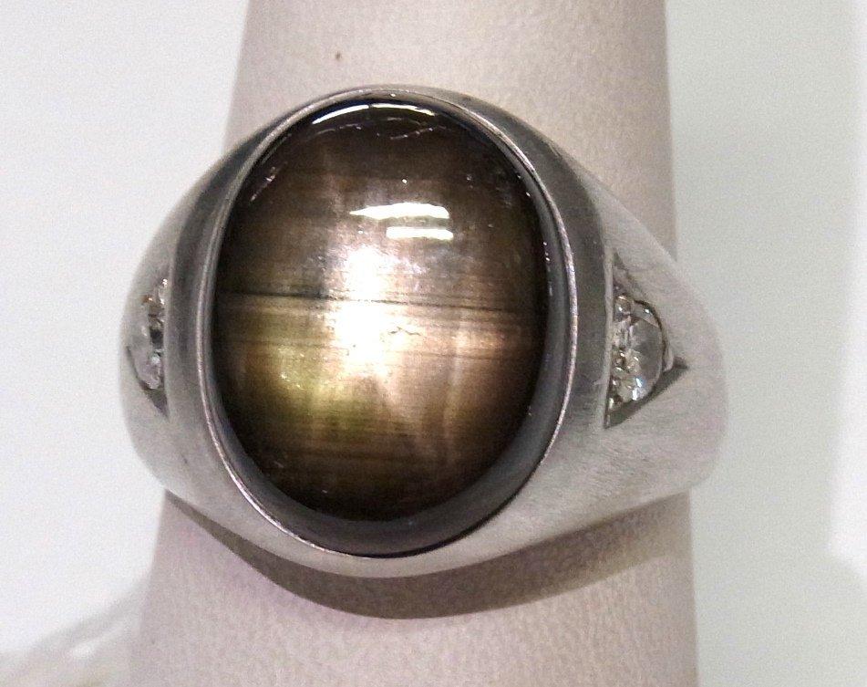Vintage 14k White Gold Mens LG Black Star Sapphire Ring
