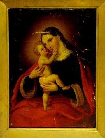 Antique European Sch. Madonna Child Painting