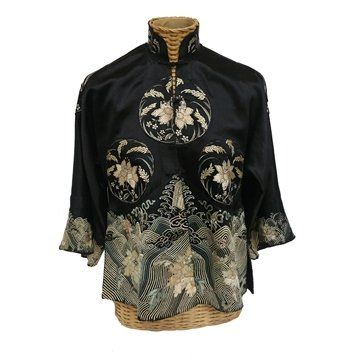 Art Deco Silk Chinese Blouse with Floral Embroidery