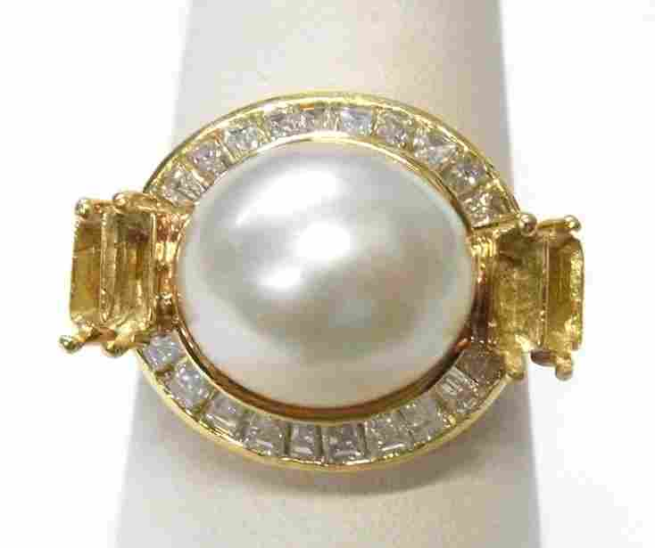 11mm Cultured South Sea Pearl 18k Gold Diamond Ring