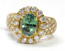 3ct Demantoid Garnet 150ctw Fine Diamond 18k Gold Ring