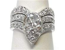 Art Deco 14k White Gold 150ctw Diamond Pav Ring