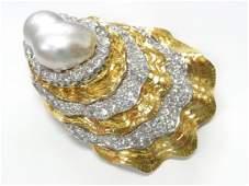 David Webb Platinum 18k Gold Pearl Diamond Brooch