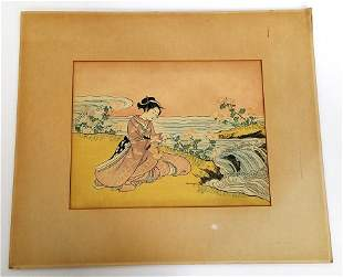 Vintage Showa Japanese Signed Adachi  Woodblock Print
