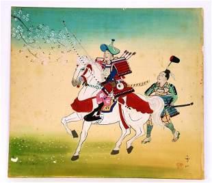 Japanese Chinese Vintage Silk Painting Samurai Horse