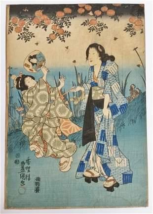 Antique Toyokuni III Original Woodblock Print Ukiyo-e