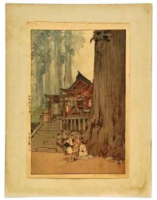 Original Misty Day In Nikko Hiroshi Yoshida Woodblock
