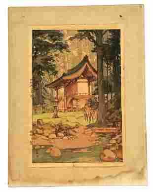 Hiroshi Yoshida Temple In The Wood Original Woodblock
