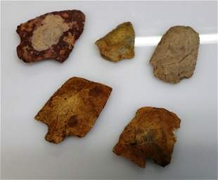 5pc Stone Carved Arrowhead Artifacts Native American