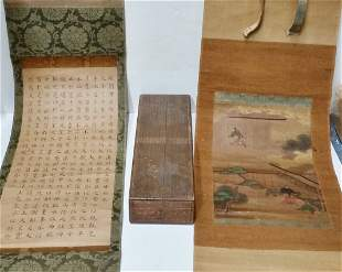 Antique Japanese Scroll Boxed Set Landscape Painting Fi