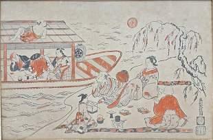 Antq Japanese Okumura Masanobu Ukiyo-e Woodblock Print
