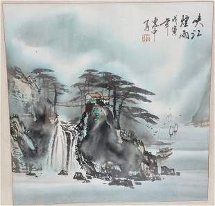 Vintage Chinese Stamped Ink Painting Mountains River